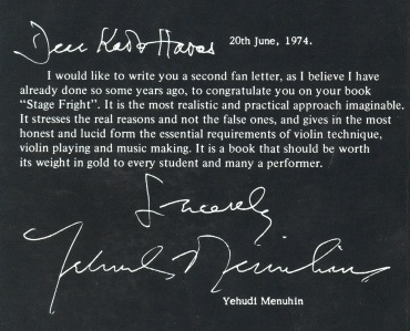 Stage fright - Menuhin's comment