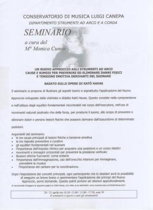 Volantino del seminario di Sassari