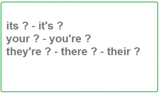 Parole omofone non omografe in inglese