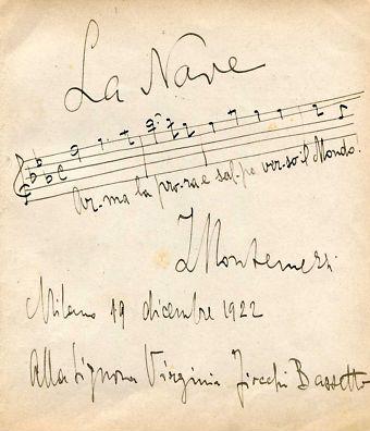 'Arma la prora e salpa verso il mondo!' La Nave - Manoscritto autografo di Italo Montemezzi