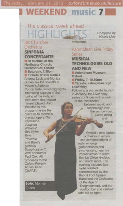 Articolo su Monica Cuneo in concerto a Oxford, su The Oxford Times: Sinfonia concertante di Mozart, febbraio 2013