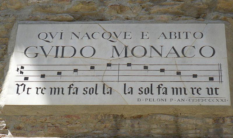 Targa sul muro della casa dove nacque Guido Monaco, o Guido d'Arezzo, che, circa mille anni fa, perfezionò il sistema di notazione musicale tuttora in uso in tutto il mondo