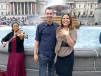 Marriage proposal in Trafalgar Square.