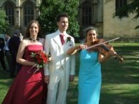 Professional wedding musician in Oxford Wadham College garden, wedding reception. Your favourite music played on the mellow viola