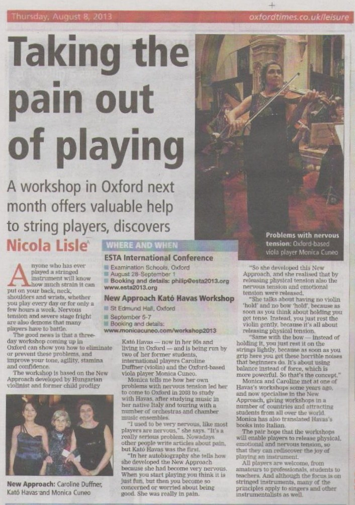 Oxford Times article on Havas New Approach workshop 2013