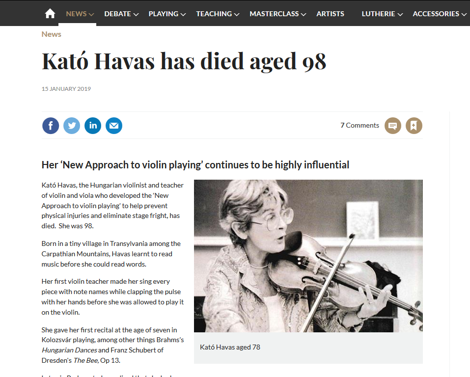 Kato Havas and her New Approach on The Strad website, January 2019