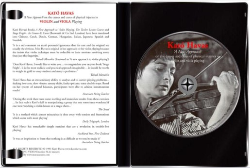 Acquista il DVD didattico sul Nuovo Approccio di Kato Havas. Per prevenire ed eliminare dolori, lesioni fisiche e la paura del pubblico causati dal suonare il violino e la viola