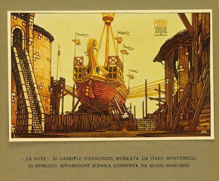 Disegno per la prima rappresentazione de La Nave