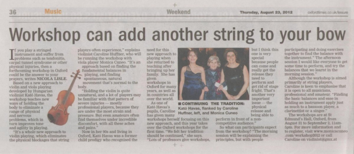 The Oxford Times published an article on a New Approach workshop by Monica Cuneo