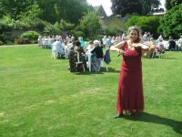 Professional wedding musician in Oxford at a reception in the Masters' Garden, Christ Church Cathedral. Ceremony, reception, your favourite music played on the mellow viola
